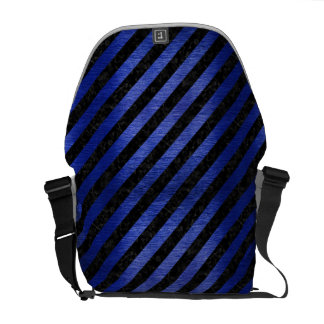 STRIPES3 BLACK MARBLE & BLUE BRUSHED METAL MESSENGER BAGS