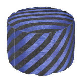 STRIPES3 BLACK MARBLE & BLUE BRUSHED METAL POUF
