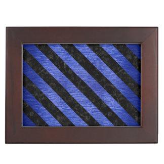 STRIPES3 BLACK MARBLE & BLUE BRUSHED METAL (R) KEEPSAKE BOX