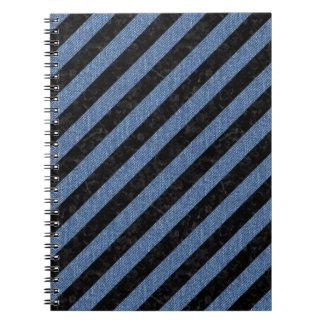 STRIPES3 BLACK MARBLE & BLUE DENIM NOTEBOOKS