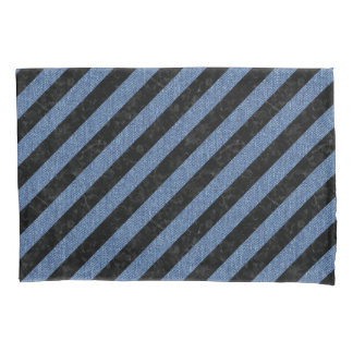 STRIPES3 BLACK MARBLE & BLUE DENIM PILLOWCASE