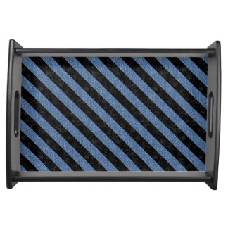 STRIPES3 BLACK MARBLE & BLUE DENIM (R) SERVING TRAY
