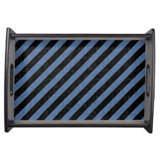 STRIPES3 BLACK MARBLE & BLUE DENIM SERVING TRAY
