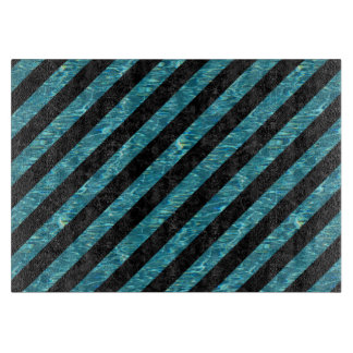 STRIPES3 BLACK MARBLE & BLUE-GREEN WATER CUTTING BOARD