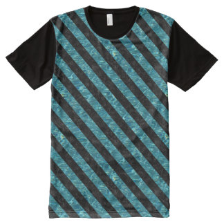 STRIPES3 BLACK MARBLE & BLUE-GREEN WATER (R) All-Over PRINT T-Shirt