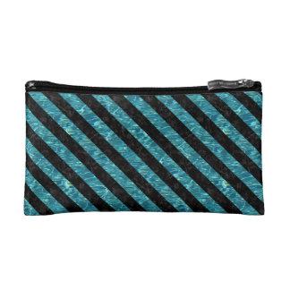 STRIPES3 BLACK MARBLE & BLUE-GREEN WATER (R) COSMETICS BAGS