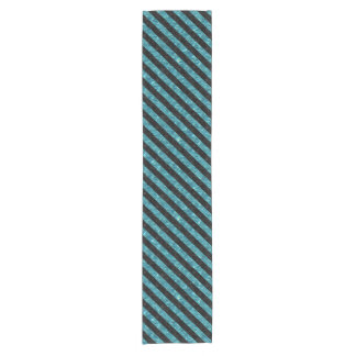 STRIPES3 BLACK MARBLE & BLUE-GREEN WATER (R) SHORT TABLE RUNNER