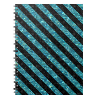 STRIPES3 BLACK MARBLE & BLUE-GREEN WATER (R) SPIRAL NOTEBOOK