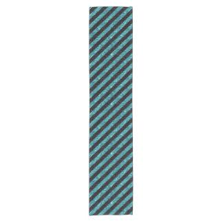 STRIPES3 BLACK MARBLE & BLUE-GREEN WATER SHORT TABLE RUNNER