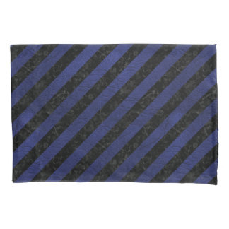 STRIPES3 BLACK MARBLE & BLUE LEATHER PILLOWCASE