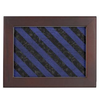 STRIPES3 BLACK MARBLE & BLUE LEATHER (R) KEEPSAKE BOX