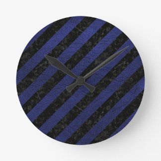 STRIPES3 BLACK MARBLE & BLUE LEATHER ROUND CLOCK