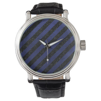 STRIPES3 BLACK MARBLE & BLUE LEATHER WATCH