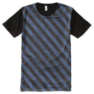 STRIPES3 BLACK MARBLE & BLUE STONE (R) All-Over PRINT T-Shirt