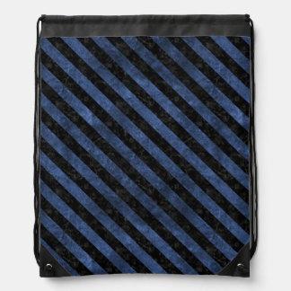 STRIPES3 BLACK MARBLE & BLUE STONE (R) DRAWSTRING BAG
