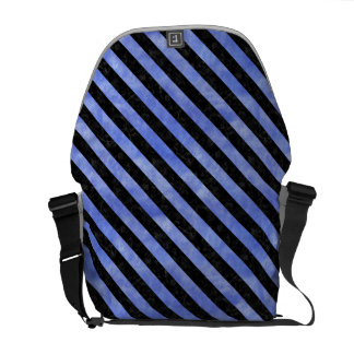 STRIPES3 BLACK MARBLE & BLUE WATERCOLOR (R) COURIER BAG