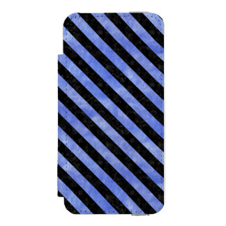 STRIPES3 BLACK MARBLE & BLUE WATERCOLOR (R) INCIPIO WATSON™ iPhone 5 WALLET CASE