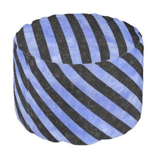 STRIPES3 BLACK MARBLE & BLUE WATERCOLOR (R) POUF