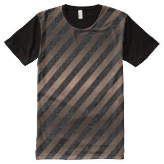 STRIPES3 BLACK MARBLE & BRONZE METAL All-Over PRINT T-Shirt