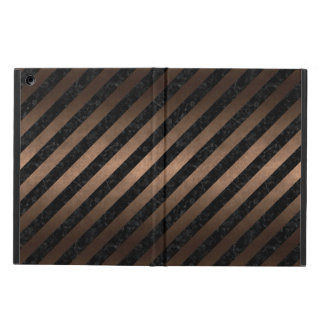 STRIPES3 BLACK MARBLE & BRONZE METAL CASE FOR iPad AIR