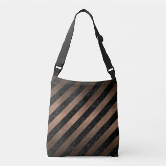 STRIPES3 BLACK MARBLE & BRONZE METAL CROSSBODY BAG