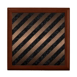 STRIPES3 BLACK MARBLE & BRONZE METAL GIFT BOX
