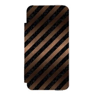 STRIPES3 BLACK MARBLE & BRONZE METAL INCIPIO WATSON™ iPhone 5 WALLET CASE