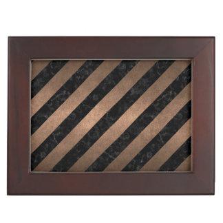 STRIPES3 BLACK MARBLE & BRONZE METAL KEEPSAKE BOX