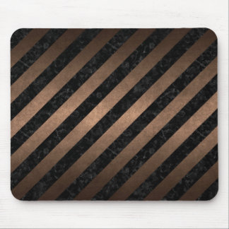 STRIPES3 BLACK MARBLE & BRONZE METAL MOUSE PAD