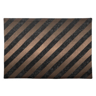 STRIPES3 BLACK MARBLE & BRONZE METAL PLACEMAT