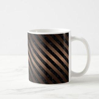 STRIPES3 BLACK MARBLE & BRONZE METAL (R) COFFEE MUG