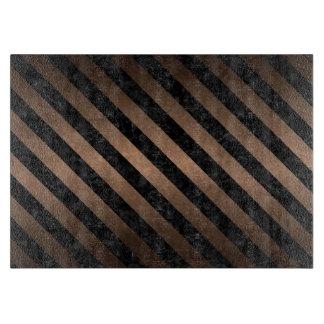 STRIPES3 BLACK MARBLE & BRONZE METAL (R) CUTTING BOARD