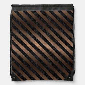 STRIPES3 BLACK MARBLE & BRONZE METAL (R) DRAWSTRING BAG