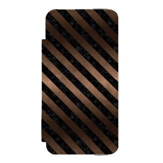 STRIPES3 BLACK MARBLE & BRONZE METAL (R) INCIPIO WATSON™ iPhone 5 WALLET CASE