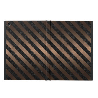 STRIPES3 BLACK MARBLE & BRONZE METAL (R) iPad AIR COVER