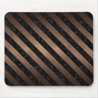STRIPES3 BLACK MARBLE & BRONZE METAL (R) MOUSE PAD