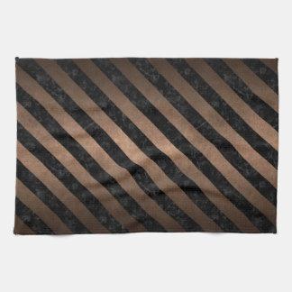 STRIPES3 BLACK MARBLE & BRONZE METAL (R) TEA TOWEL