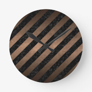 STRIPES3 BLACK MARBLE & BRONZE METAL ROUND CLOCK