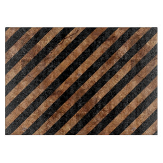 STRIPES3 BLACK MARBLE & BROWN STONE CUTTING BOARD