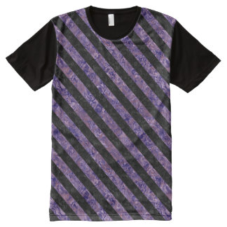 STRIPES3 BLACK MARBLE & PURPLE MARBLE (R) All-Over PRINT T-Shirt