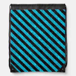 STRIPES3 BLACK MARBLE & TURQUOISE MARBLE (R) DRAWSTRING BAG