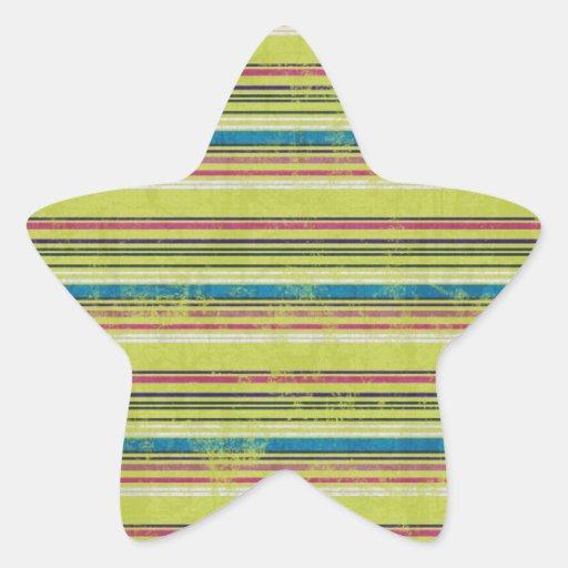 STRIPES66 COLOURFUL GRUNGE STRIPES PATTERN BACKGRO STAR STICKER