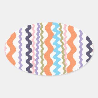 stripes90 ZIGZAG ZIG ZAGS colors ORANGE BLUE WHITE Oval Stickers