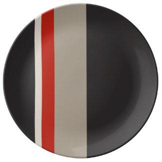 """STRIPES 10.75"""" Decorative Porcelain Plate"""