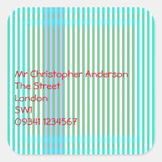 Stripes Address Square Sticker