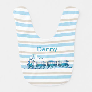 Stripes and Choo Choo Train Baby Bib