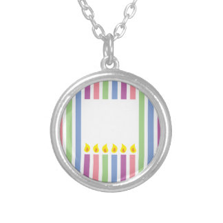 Stripes and Colourful candles in a box Silver Plated Necklace