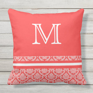 Stripes and Damask in Salmon and White Monogram Outdoor Cushion