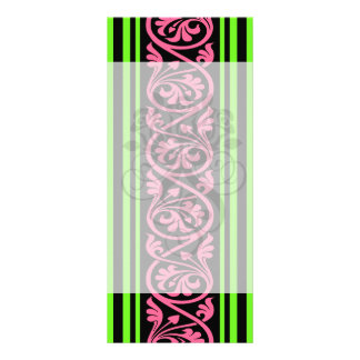 stripes and damask lime green hot pink 10 cm x 23 cm rack card