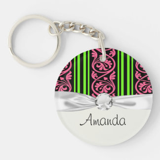stripes and damask lime green hot pink Single-Sided round acrylic key ring